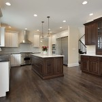 Kitchen in new construction home with center island